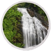 Waterfall Closeup Round Beach Towel