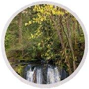 Waterfall In A Park, Whatcom Creek Round Beach Towel