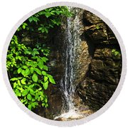 Waterfall In Forest Round Beach Towel