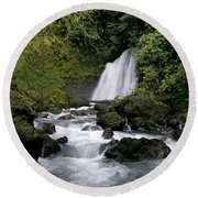 Waterfall In La Fortuna Round Beach Towel