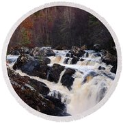 Waterfall In Scotland Round Beach Towel