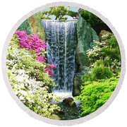 Waterfall In Spring Round Beach Towel
