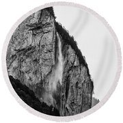 waterfall in Switzerland Round Beach Towel