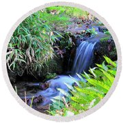 Waterfall In The Fern Garden Round Beach Towel