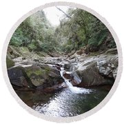 Waterfall In The Forest Round Beach Towel
