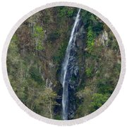Waterfall In The Intag 2 Round Beach Towel