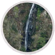 Waterfall In The Intag 3 Round Beach Towel