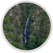 Waterfall In The Intag 5 Round Beach Towel