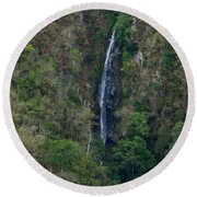 Waterfall In The Intag Round Beach Towel