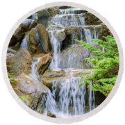 Waterfall In The Vandusen Botanical Garden 1 Round Beach Towel