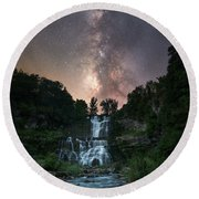 Waterfall Milky Way  Round Beach Towel