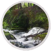 Waterfall Near Tallybont-on-usk Wales Round Beach Towel