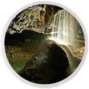 Waterfall Of The Caverns Round Beach Towel