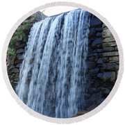 Waterfall Of The Grist Mill Round Beach Towel