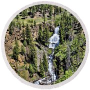 Waterfall On Lava Creek 1 Round Beach Towel