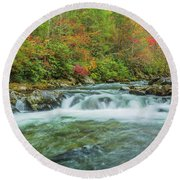 Waterfall On Little Pigeon River Smoky Mountains Round Beach Towel