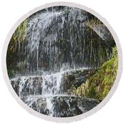 Waterfall On Mount Ranier Round Beach Towel