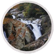 Waterfall On West Fork French Broad River Round Beach Towel