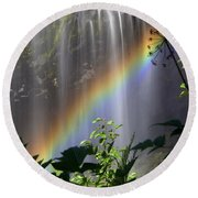 Waterfall Rainbow Round Beach Towel