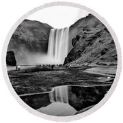 Waterfall Reflections Round Beach Towel