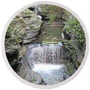 Waterfall Rocks Foliage Pond 2 9132017 Round Beach Towel