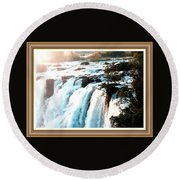 Waterfall Scene For Mia Parker - Sutcliffe L A S With Decorative Ornate Printed Frame.  Round Beach Towel