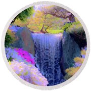Waterfall Spring Colors Round Beach Towel