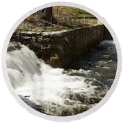 Waterfall Times Two Round Beach Towel