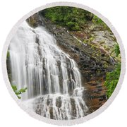 Waterfall With Green Leaves Round Beach Towel