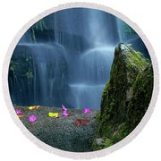 Waterfall02 Round Beach Towel by Carlos Caetano