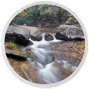 Waterfalls At Roaring River Stone Mountain Round Beach Towel