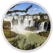Waterfalls In Frame Round Beach Towel