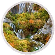 Waterfalls In Plitvice Lakes National Park Round Beach Towel