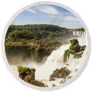 Waterfalls On Iguazu River Round Beach Towel