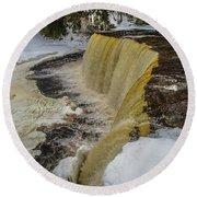 Waterfalls Upper Tahquamenon -6049 Pure Michigan Round Beach Towel