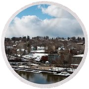 Waterfront After The Storm Round Beach Towel