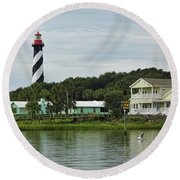 Historic Waterfront Beauty Round Beach Towel