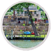 Waterfront Landscaping Round Beach Towel
