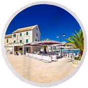Waterfront Promenade Og Town Primosten Round Beach Towel