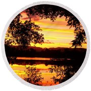 Waterfront Spectacular Sunset Round Beach Towel