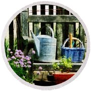 Watering Can And Blue Basket Round Beach Towel