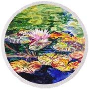 Waterlilies Impressionism Round Beach Towel