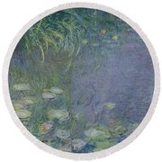 Waterlilies Morning Round Beach Towel