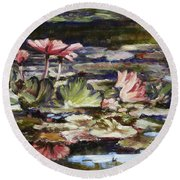 Waterlilies Tower Grove Park Round Beach Towel