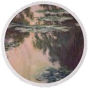Waterlilies With Weeping Willows Round Beach Towel