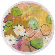Waterlillies At Dusk Round Beach Towel by Jennifer Lommers