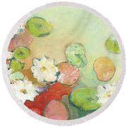Waterlillies At Dusk No 2 Round Beach Towel by Jennifer Lommers