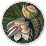 Waterlily Like A Clock Round Beach Towel