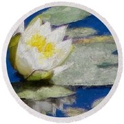 Waterlily Reflections Round Beach Towel
