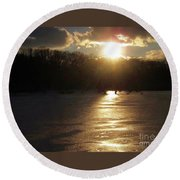 Watershed Sunset Round Beach Towel